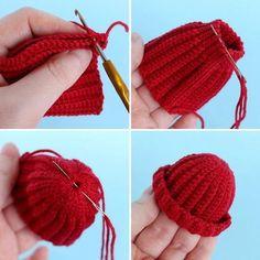 Вязаная шапка для игрушки крючком