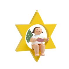 Engel mit Liederbuch im Stern Wendt Kühn, Tweety, Fictional Characters, Christmas Jewelry, Angel, Stars, Figurine, Fantasy Characters