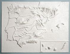 Mapa físico de España en relieve