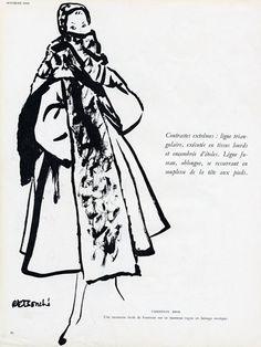 Christian Dior 1949 Coat René Bouché Fashion Illustration