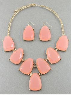 Peach Blue Chunky Nugget Necklace Set