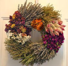 Herb Wreath, Dried Floral Wreath, Grass Wreath, Sunflower Wreath  $35