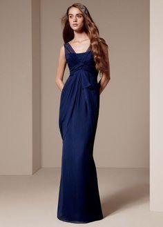 V Neck Sleeveless Chiffon Column Dress - David's Bridal