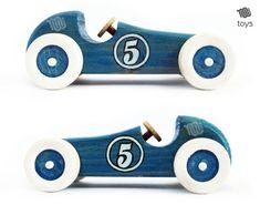 Stilizzata blu Racing auto giocattolo di legno un aspetto