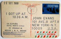 On Kawara: I Got up at 10.36 a.m. 22th September 1968. Postcard sent to John Evans.