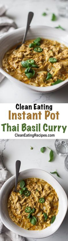 I love this Clean Eating curry recipe because it's so easy to throw it in the Instant Pot and come back when it's done in a little over half an hour and have a healthy, flavorful meal! It's also glute (Chicken Curry Instant Pot) Clean Eating Dinner, Clean Eating Recipes, Healthy Recipes, Free Recipes, Instant Recipes, Simple Recipes, Ketogenic Recipes, Yummy Recipes, Healthy Food