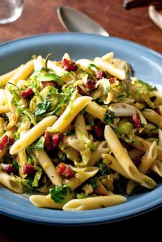 Pasta and sliced brussels sprouts make a good pair, the softened green shreds commingling with the chewy noodles in the sauce Here that sauce is a simple one with big flavors: pancetta, rosemary, garlic and chile The raw brussels are then added to the pan
