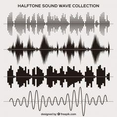 ハーフトーン音波セット 無料ベクター
