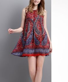 Another great find on #zulily! Red Paisley Sleeveless Swing Dress by Reborn Collection #zulilyfinds