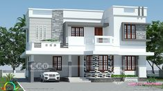 Exceptional controlled entry porch design go to the website Two Story House Design, House Roof Design, Best Modern House Design, Flat Roof House, Duplex House Design, Indian Home Design, Kerala House Design, Independent House, My House Plans