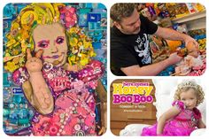 What can you do with 11 kg of trash?   Mosaic portrait artist Jason Mecier (San Francisco, USA) has created an elaborate portrait of reality television star Honey Boo Boo (seven-year-old Alana Thompson)