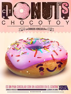 Illustration collection 2 by ChocoToy , via Behance Graphic Design Typography, Graphic Design Art, 3d Design, Design Ideas, Creative Posters, Cool Posters, Donuts, Shellac Nail Designs, Page Layout Design