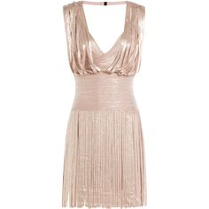 Hervé Léger Metallic Dress ($1,879) ❤ liked on Polyvore featuring dresses, rose, rose pink dress, metallic cocktail dress, herve leger dress, fitted dresses and pleated dress