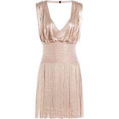 Hervé Léger Metallic Dress (£1,679) ❤ liked on Polyvore featuring dresses, rose, fitted dresses, short dresses, short cocktail dresses, herve leger dress and v neck dress