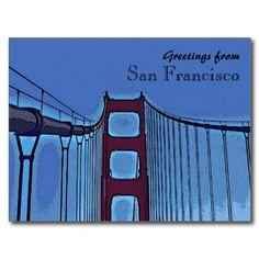 San Francisco golden gate bridge artistic postcard