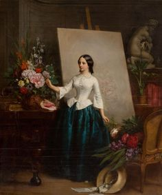 JEAN-BAPTISTE-ANTOINE-EMILE BERANGER (French, 1814-1883) Woman Flower Painter at the Easel (very possibly a portrait of his sister Suzanne-Estelle Beranger-Apoil), 1856