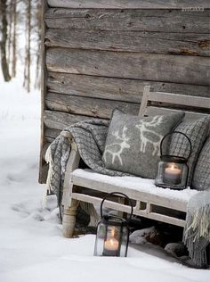 How to Adopt Nordic Hygge and Cozy Up Your Home - 31 Daily Country Christmas, Winter Christmas, Winter Porch, Outdoor Christmas, Winter Garden, Christmas Ideas, Christmas Time, Christmas Porch, Hygge Christmas