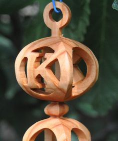 Handmade 3D wooden ornament with initial or by Treeformation, $20.00