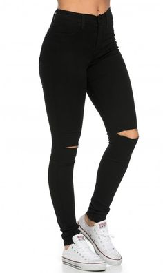 High Waisted Knee Slit Skinny Jeans in Black - Şilan Güneş - Mode Trends Cute Ripped Jeans, Ripped Jeggings, High Jeans, High Waist Jeans, Black Knee Ripped Jeans, Black High Waisted Jeans Outfit, Black Jeans With Holes, Black Jeans For Girls, High Waisted Distressed Jeans