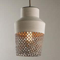Shades of Light - Urban Renewal 2016 - Scalloped Screened Pendant Beach House Lighting, Home Lighting, Kitchen Lighting, Lighting Ideas, Farmhouse Pendant Lighting, Light Take, Linear Chandelier, Round House, Diffused Light