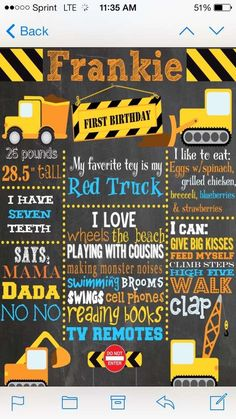 Construction birthday party sign!  See more party planning ideas at CatchMyParty.com!