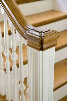 Thin balusters and squared newel post, colonial revival staircase