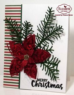 Frances Byrne created this beautiful holiday card with Els van de Burgt Studio's Poinsettia (1067), and Sprig with Berries (765). She adds some extra sparkle with our Silk Microfine Glitter: True Red (614) and Forest Green (633), and Shimmer Sheetz: Red Metallic Shimmer Sheetz (SS 0214) and Gold Metallic (SS 0212). She used Karen Burniston's Merry & Bright Clear Stamps (CS003) for a holiday sentiment on the outside and inside. Buy the supplies here: http://www.elizabethcraftdesigns.com/