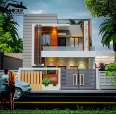 Introducing modern house exterior elevation by Er. Indian House Exterior Design, House Gate Design, Kerala House Design, Duplex House Plans, Bungalow House Design, Unique House Design, House Front Design, House Design Photos, House Elevation