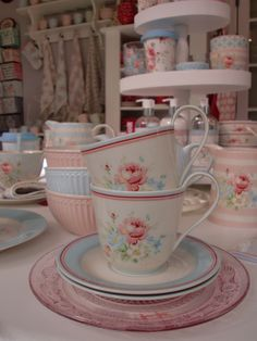GreenGate Cup & Saucers Marie White