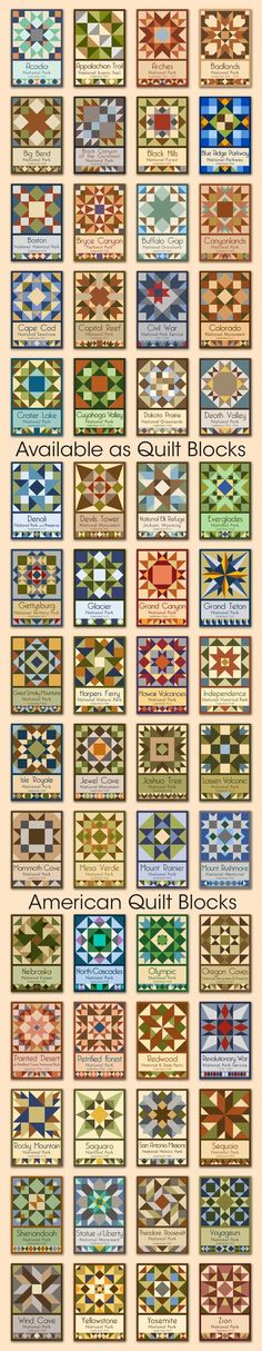 60 National Park quilt blocks by American Quilt Blocks / Olde America Antiques. Available for purchase in various sizes at oldeamericaantiques.com.