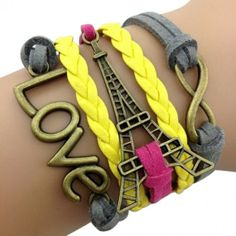 PINK AND YELLOW PARIS ARM PARTY BRACELET Casual Braids, Vintage Party, Vintage Style, Arm Party, Braided Bracelets, Fashion Bracelets, Jewelry Bracelets, Bangles, Simple Jewelry