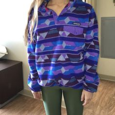 Patagonia Blue and purple synchilla Patagonia pullover. NON SMOKING HOME. Super comfy Patagonia Tops Sweatshirts & Hoodies