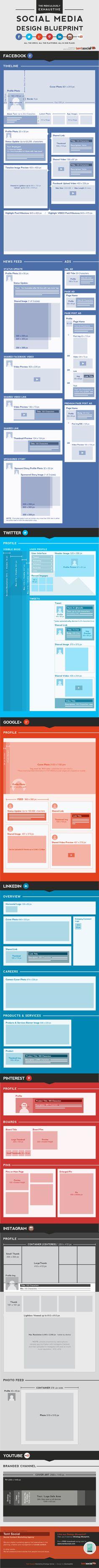 Image Dimensions for Various Social Media Platforms - #webdesign #images #picture #header #profile #twitter #facebook #google #pinterest #linkedin #instagram #socialmedia #youtube