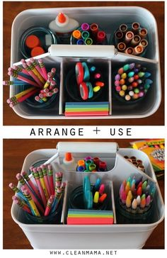 Put together a mobile caddy of school supplies to make clean extra-simple. When it's time to get dinner ready, instantly clear the kids' stuff off the kitchen table with an easy carry-all. Click through for more on this and other back-to-school organizing tips.