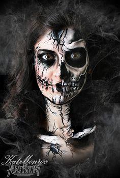 Halloween face Paint Body Art Scary Broken Doll Skull Skeleton