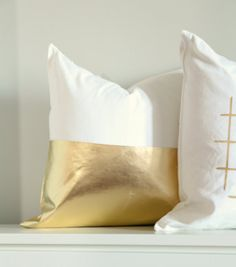 Colorblock Gold Pillow Cover, Metallic Gold Cushion Cover, Gold Throw Pillow…