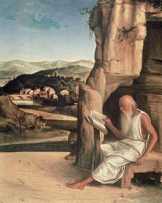 St Jerome Reading in a Landscape | Giovanni Bellini | oil painting  #religious art