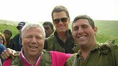 New England Patriots owner Robert Kraft and quarterback Tom Brady visit Nahal Haredi soldier Avi Sandler on his base during a 2006 trip to Israel (photo credit: Courtesy)