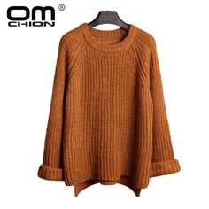 f8ea05a16276 OMCHION New 2017 Fashion Autumn Winter Women Sweaters And Pullovers Loose  Knitting Sweater Casual Patchwork Pullover
