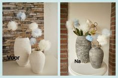 Made with your own love! Diy And Crafts, Arts And Crafts, Vase, Stone Art, Diy Projects To Try, Ladder Decor, Canvas Art, Design, Concrete