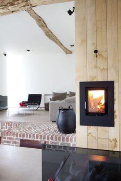 'Rabbit Hole' Gaasbeek - Belgium - by Lens Ass Architects Wood Burner Fireplace, Brick Fireplace, Architecture Magazines, Architecture Design, Victorian Fireplace, Old Farm, Rabbit Hole, Vintage Wood, Belgium
