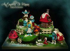 The smurf village cake