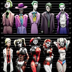 Joker and Harley Quinn Line-Ups. 2 11x17 Prints, discount price. ($18) ❤ liked on Polyvore featuring home, home decor and wall art