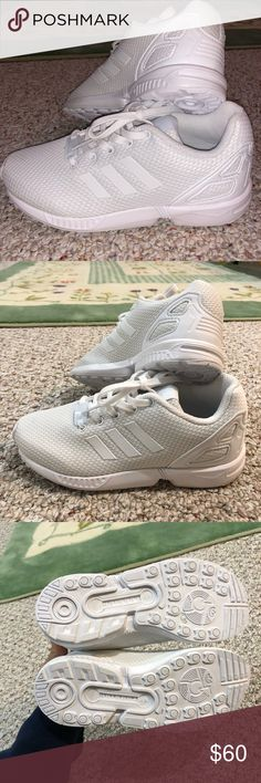 Adidas zx flux shoes boys 2 white new sneakers Adidas zx flux shoes. Size is little boys 2.  Color white. new no box or tags. sneakers are authentic adidas. No damage. Feel free to make offers adidas Shoes Sneakers