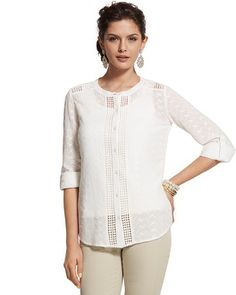 Chico's Sweet Eyelet Emmalyn Shirt #chicos $89. White and Black.