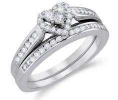 Heart Diamond Engagement Ring & Wedding Band White Gold Bridal (1/2ct) #Diamond #wedding #Bridal #Ring #fashion #Jewelry #White jeweltie.com
