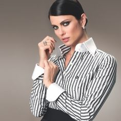 Business Dresses, Business Outfits, Foto Cv, High Collar Shirts, Sexy Outfits, Fashion Outfits, Formal Shirts, Collar Blouse, Unique Dresses