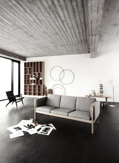 CH163 Couch (1965) by Hans J. Wegner. Very modern day ikea-ish, but I like the space too.
