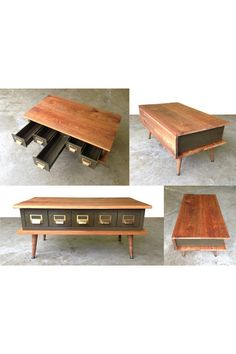 Custom Reclaimed Wood Metal Catalog Drawer by Thinkwithoutthebox