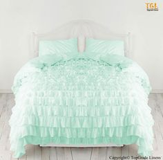 New 1000TC Egyptian Cotton Waterfall Ruffle Duvet Cover Choose Size and Color | eBay